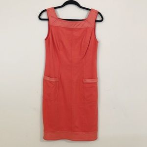 Kay Unger sleeveless orange sheath midi dress